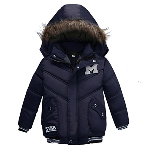 Wanshop For 2-5 Years Old Kids Coats, Fashion Kids Coat Boys Girls Thick Coat Padded Winter Jacket Clothes Children Clothes (2T, Dark Blue 1)