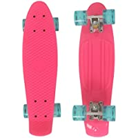 Buysyall® Monopatín Mini Skateboards Estilo Cruiser Ruedas con Luces Intermitentes Retro Amortiguador para Niños, Adolescentes o Adultos, Rodamientos de Acero Cromado ABEC-7, 55 x 15,5 x 9,5cm