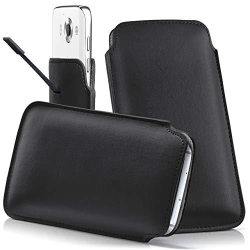 moex Nokia 216 | Hülle Schwarz Sleeve Slide Cover Ultra-Slim Schutzhülle Dünn Handyhülle für Nokia 216 Case Full Body Handytasche Kunst-Leder Tasche