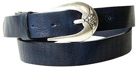 FRONHOFER Fine ceinture 3 cm | Belle boucle mate argentée ornée d'un motif floral | Cuir souple | Véritable cuir naturel au tannage végétal | 17551, Couleur:Bleu marine, Taille:Taille 75