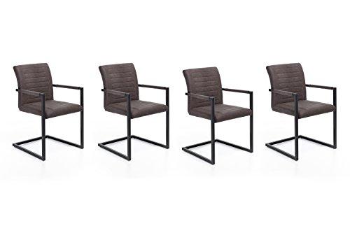 4 x Woodkings® Schwingstuhl Picton Freischwinger mit Armlehne, Metall schwarz und Kunstleder marmoriert braun, Esszimmerstuhl mit Armlehne modern, Designstuhl, Metallstuhl, Küchenstuhl 4er Set günstig