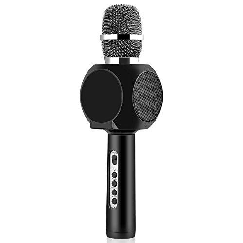 XPY&DGX Tragbares drahtloses Handmikrofon, drahtloses Karaoke-Mikrofon Drahtlose Bluetooth-Sprecher Mic-Spieler-Recorder mit Telefon-Halter-Echo-Rauschunterdrckung, PC / iPad / iPhone / Smartphone