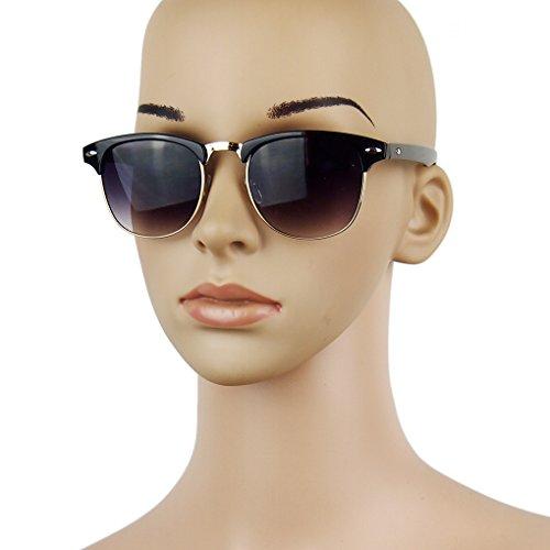 LUFA Semi-Rimless Demi cadre UV400 lunettes de soleil surdimensionnées Noir mat 675vR79M6