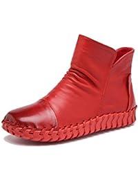 WJNKK Nuevas Mujeres Señoras Cremallera Plana Botines Zapatos De Moda Ocio Retro De Gran Tamaño 35