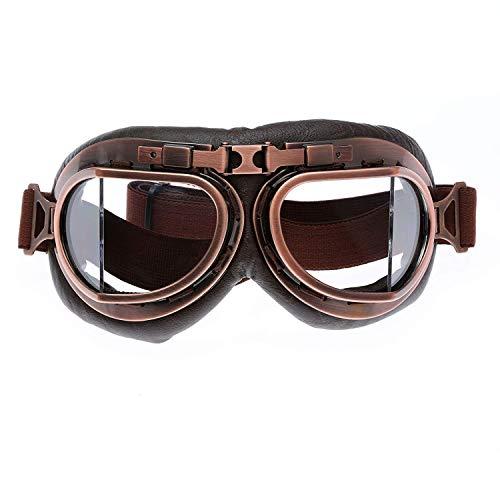 GXFLO Vintage Goggles Sport Sonnenbrillen Helm Steampunk Eyewear für Outdoor Motocross Racer Motorrad Flieger Pilot Style Cruiser Roller Brille,Clear
