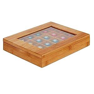 arthomer Organisateur de boîte de Rangement à thé en Bois avec 24 Compartiments, Coffre à thé en Bambou avec Couvercle de Verrouillage Transparent et magnétique, pour Les Amoureux du thé