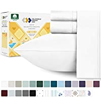 400 Thread Count 100% Cotton Sheet Pure White King Sheets Set, 4-Piece Long-staple Combed Pure Cotton Best Sheets For Bed, Breathable, Soft & Silky Sateen Weave Fits Mattress 16'' Deep Pocket