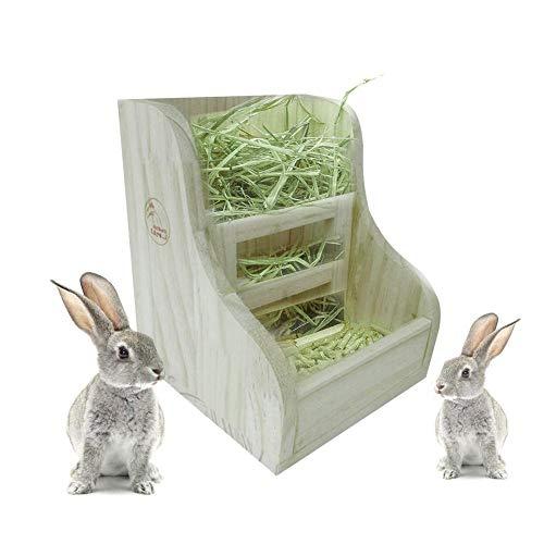 Heuraufe Kaninchen Gras Und Essen Doppelfutterautomat Hölzerne Weniger Vergeudetes Heu Futterautomat Für Kaninchen/Meerschweinchen Chinchilla Kleintiere