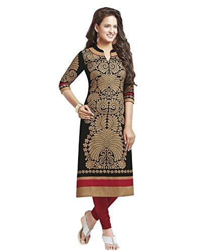 Jevi Prints Women's Dress Material (Saheli-1204_Black_Free Size)
