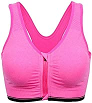 Glamroot Women's Padded full Coverage Front Zip Closure Sports Bra for Gym, Yoga, Running, and Fit