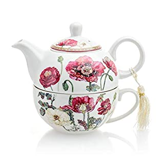Vintage Flower Porcelain Tea for One Teapot and Cup Set in Gift Box