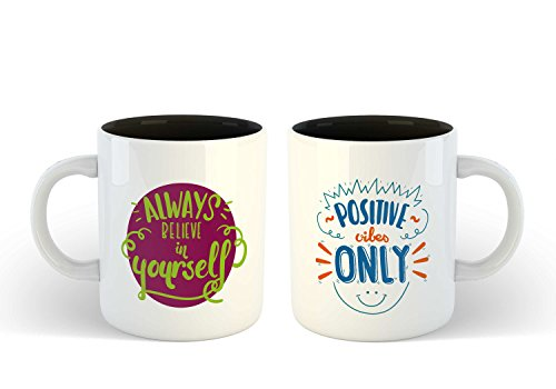 iKraft Dual Tone Coffee Mugs Set Black Inspirational Quotes Always Believe in Yourself and Positive Vibes Only Printed 11oz Ceramic Travel Mug