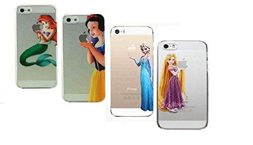 Unbekannt Robinhood99 Hartschalen-Handyhülle, Motiv: Disney-Prinzessinnen, Arielle, ELSA, Schneewittchen und Rapunzel, transparent, für iPhone 5/ 5S, 4-teiliges Set (Rapunzel Und Schneewittchen)