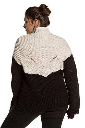Ulla Popken Femme Grandes tailles | Pull en maille bicolore à manches longues évasées et col rond | 713343 Blanc Cassé