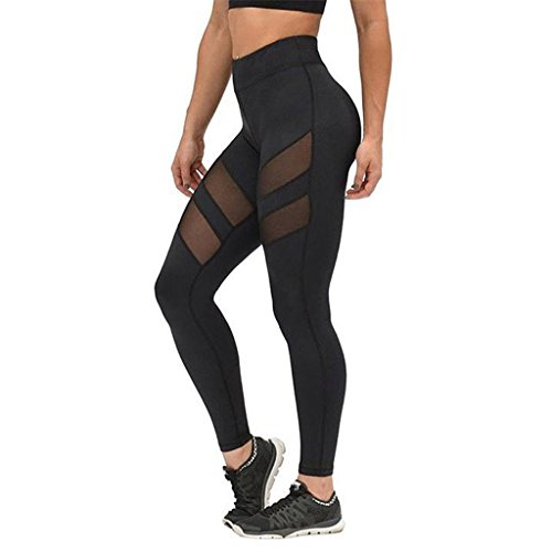 Overdose Women High Waist Fitness Yoga Sport Pants Printed Stretch Nine Points Leggings (X-Large, Y08)