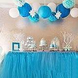 MYMM Tischröcke, romantische Tischdeko mit Tüll, Tischdekoration, Schneeflocke Wonderland Tischdecke, für Baby-Dusche, Hochzeit, Geburtstag, Party, Bar, Prom, Valentinstag Weihnachten (Blau)
