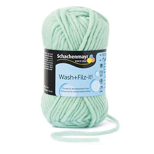 Schachenmayr Wash+Filz-it! 9812942-00038 mint Handstrickgarn, Filzgarn, Schurwolle (Wolle Stricken Garn Reine)
