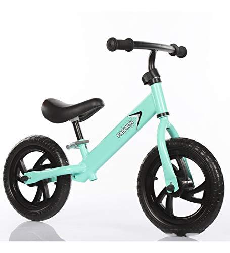 SXMXO 12 Zoll Balance Fahrrad Kinder, Kohlenstoffstahl Ohne Pedale ultraleichte zum Kinder und Kleinkinder 2 bis 6 Jahre,Green