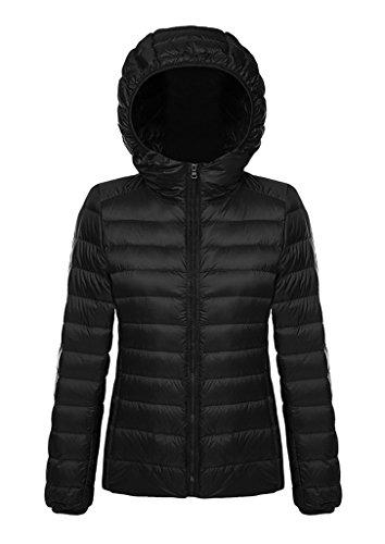 Damen Daunenjacke Steppjacke Übergangsjacke zusammenklappbar leicht Winter Warm Jacke mit Kapuze,Schwarz,M