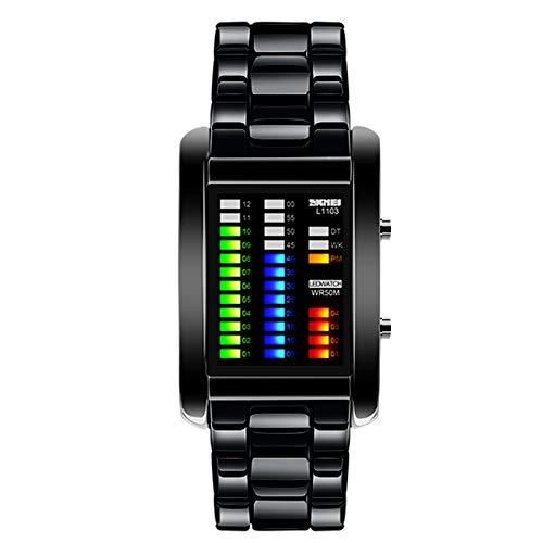 Vemupohal hombre binario Matriz azul Digital LED reloj de 50 m resistente al agua militar acero inoxidable hombres relojes de pulsera