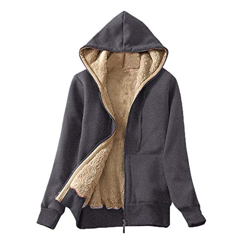 BOLANQ Mantel Jacke Coat Outwear Sweatshirt, Frauen Casual Winter Warm Sherpa gefüttert Zip Up Kapuzenpullover Jacke Mantel(X-Large,Grau)