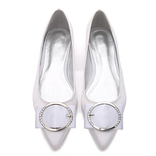 L@YC Punta da donna E-5047-27 Scarpe da sposa Flat Basic Pump Elastic Satin Metal Closed Toe Calzature di grandi dimensioni su misura White