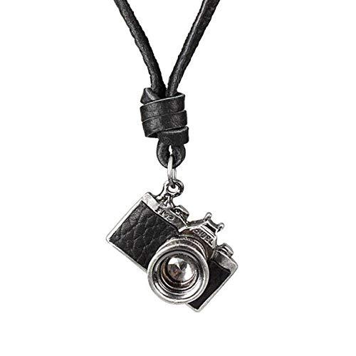 SUNMM Leder Herren Halskette Kreuz Anhänger Punk Verstellbare Seilkette Herren Schmuck Anhänger Halskette, Kamera Schwarz