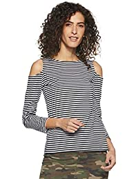 05264cd0684c1 Miss Chase Womens Black and White Striped Cold Shoulder Top