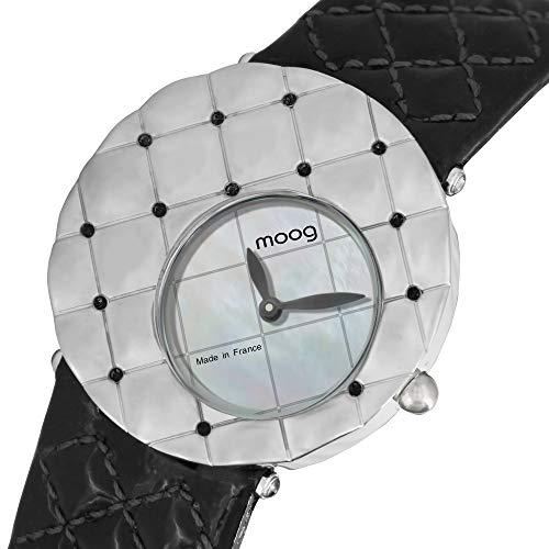 Moog Paris Fascination Montre Femme avec Cadran Nacre Blanc, Eléments Swarovski, Bracelet Noir en Cuir Véritable - M45412-009