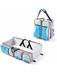 Babies Bloom Turquoise Blue Portable Multifunctional Baby Travel Bed Cot/Bassinet And Folding Mummy Diaper Bag
