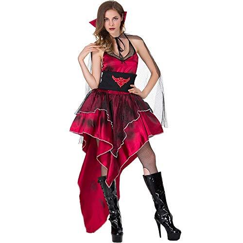 Queen Kostüm Sexy Red - FHSIANN Erwachsene Frauen Halloween Scary Vampire Queen Kostüm Sexy Red Bat Printed AsymmetrischeHigh Low Swallow Tail Kleid Für Damen
