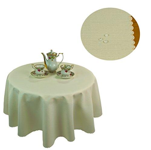 KMP Tischdecke abwaschbar Tischläufer Gartentischdecke Leinen Optik Rechteckig Rund (160 cm Rund, Creme (Ecru)) -