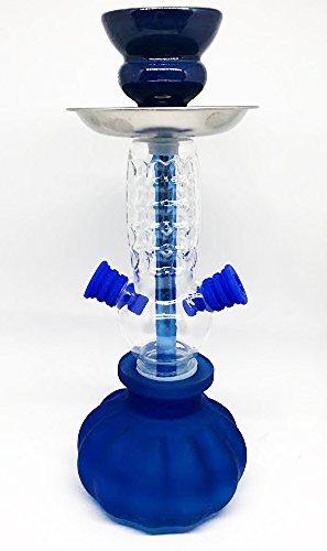 Cachimba 2 salidas - Shisha premium - 27cm - 2 mangueras - Pack de shisha con accesorios (Azul)
