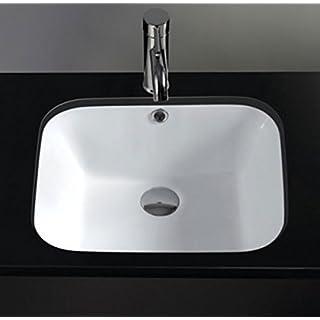 Clickbasin Rectangle White Undermount Ceramic Bathroom Basin 470mm x 350mm PISA