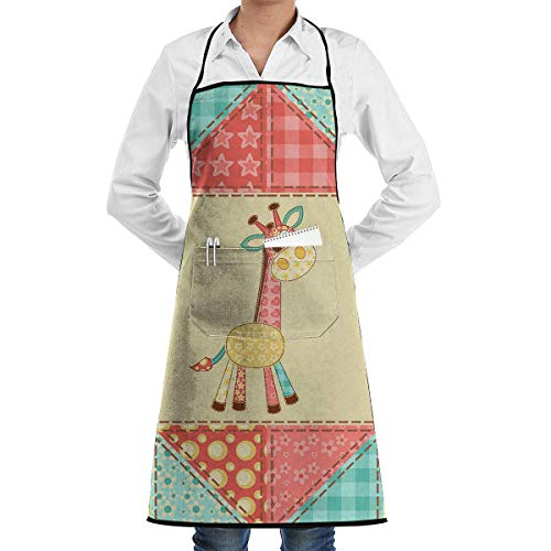 GDESFR Apron with Pock,Apron with Pockets - Giraffe Restaurant Aprons for Men/Women/Chef/Baker/Servers/Waitress/Waiter