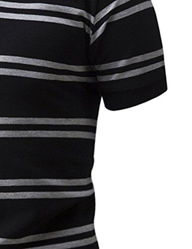LIANIHK klassisch Streifen Polo Herren Baumwolle Poloshirt Kontrastfarben kurzarm T-shirt M - 3XL Schwarz