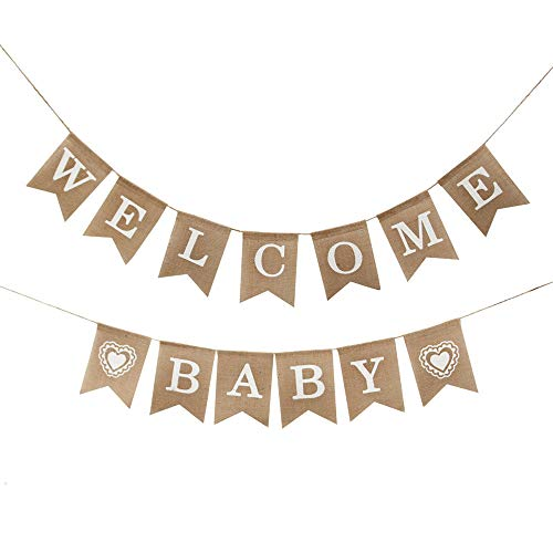 KDSANSO Banner Party Dekoration, Welcome Baby Brief Vintage Banner Leinen Ziehen Streifen Dekoration Girlande Flagge Geburtstags Baby Party — ()