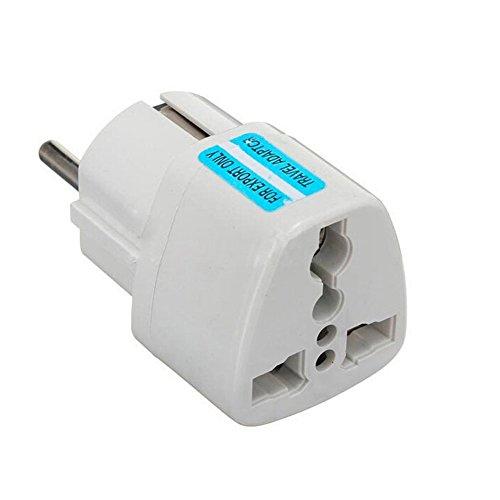 Adaptateur universel secteur US / UK / Chine vers Europe (EU) / France (FR) - Prise électrique avec terre - Normes CE RoHS - 16A - Blanc
