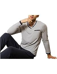 Mens sleepwear Pajamas de algodón con Cuello en V para Hombre, Juego de Ropa de