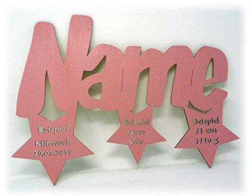 Sterne Trio + Name & Daten Baby Geburtsgeschenk-e Wand-Deko Kind-er mit Namen und Geburtsdaten Junge Mädchen (Rosa) (Süßes 4-jähriges Mädchen)
