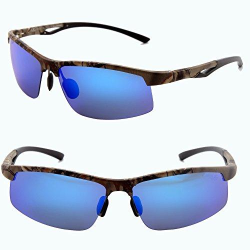 Männer Frauen Stil polarisierte Sonnenbrille Metallrahmen Sportbrillen (Schwarz, Blau)