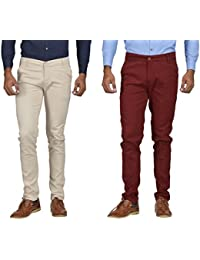 Kushsection Off-White Trousers & Maroon Trousers Cotton Trousers Combo Solid Trousers F10S17 (Pack Of 2 Casual...