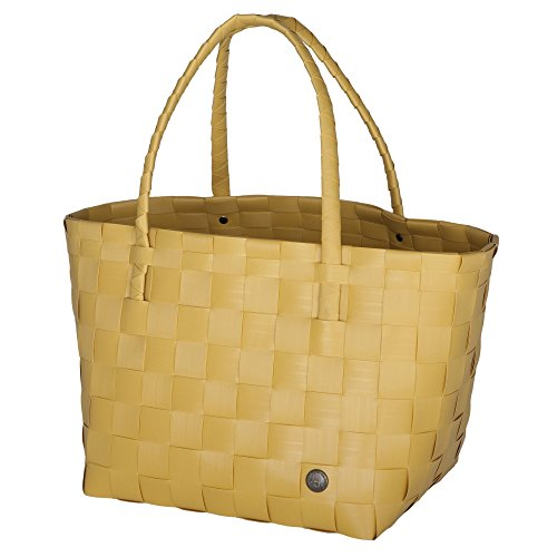 Unek Goods Handed By Paris Woven Reusable Shopping Tote Bag, Mustard