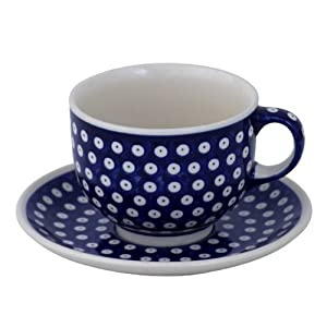 Bunzlauer Keramik Ceramic Pottery Cup and Saucer (Milchkaffeetasse) 0.5 Litres with 42