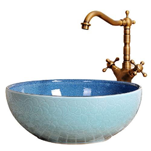 Waschplätze Waschbecken-Wanne Keramisches Rundes Waschbecken Hotel Über Gegenbassin Garderobe-Wanne (Color : A. Sink*1, Size : 41 * 24 * 15cm) - Runde Garderobe
