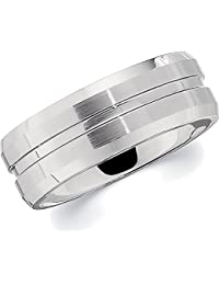 Cobalt Chrome, Polished Grooved Flat Bevel Wedding Band (sz N to Z3)