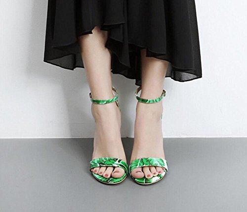 Glter Femmes Open Toe Strap Pompes D'été Chaussures De Charme Nightclub Cristal Coutures Couleur Sandales À Talons Hauts Vert