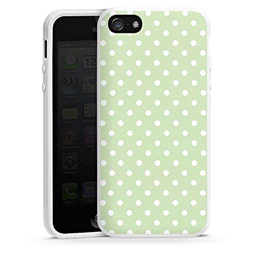 Apple iPhone 5s Housse Étui Protection Coque Polka Petits points Motif Housse en silicone blanc