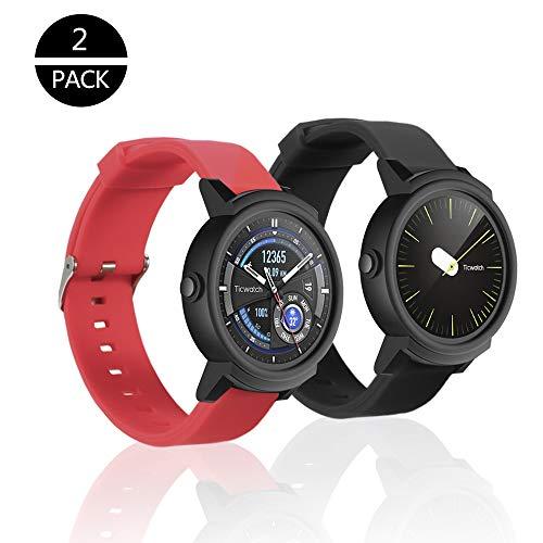 """Rukoy Correias para TicWatch E / HUAWEI 2 Assista relógio inteligente [2-Pack: Black + Red], bandas peças acessórios TicWatch E / 2 Huawei relógio inteligente Watch (5.9 """"-7.9"""")"""