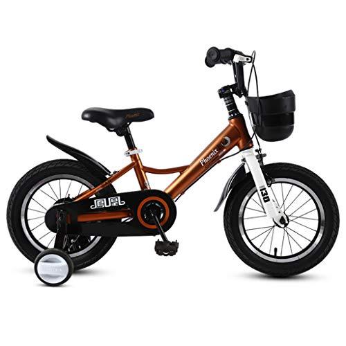 Kinderfahrräder 3-12 Jahre altes Kind Fahrrad 14/16/18 Zoll Junge Mädchen Kinderwagen Kind Klapprad (Color : Brown, Size : 14in)